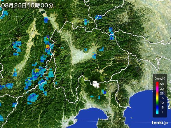 山梨県の雨雲レーダー(2016年08月25日)