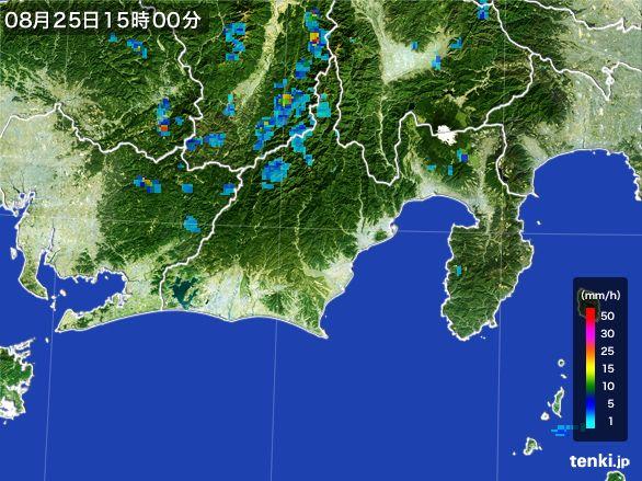 静岡県の雨雲レーダー(2016年08月25日)