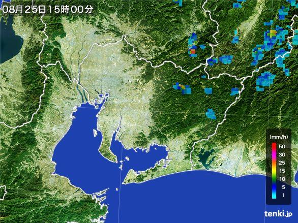 愛知県の雨雲レーダー(2016年08月25日)
