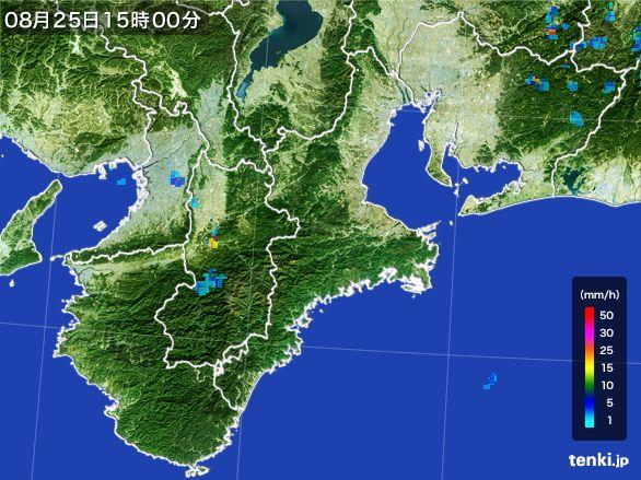 三重県の雨雲レーダー(2016年08月25日)
