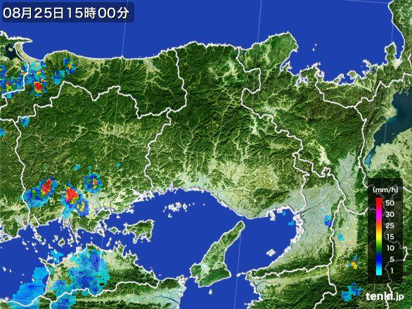 兵庫県の雨雲レーダー(2016年08月25日)