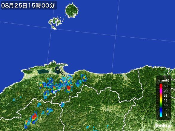 鳥取県の雨雲レーダー(2016年08月25日)
