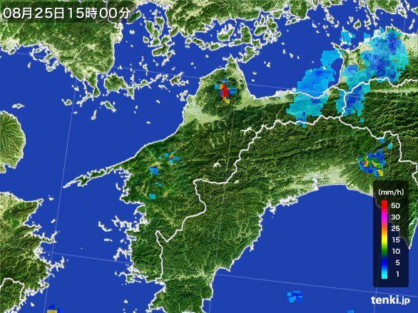 愛媛県の雨雲レーダー(2016年08月25日)