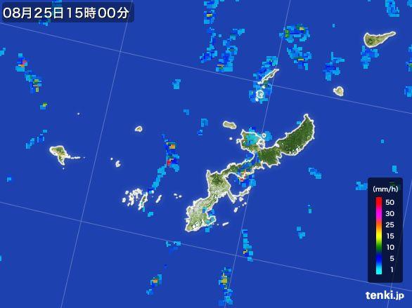 沖縄県の雨雲レーダー(2016年08月25日)