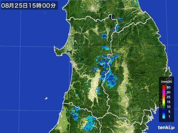 秋田県の雨雲レーダー(2016年08月25日)
