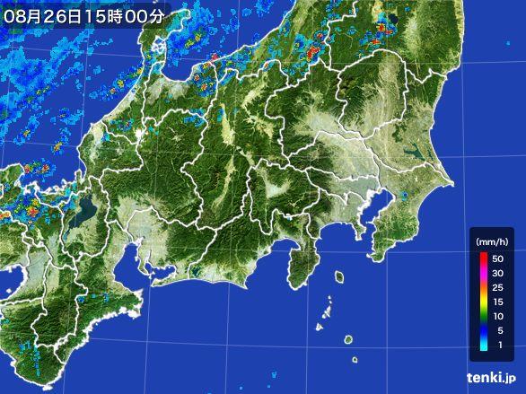関東・甲信地方の雨雲レーダー(2016年08月26日)