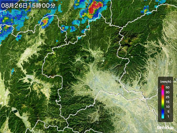 群馬県の雨雲レーダー(2016年08月26日)