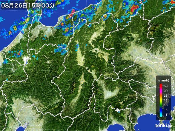 長野県の雨雲レーダー(2016年08月26日)