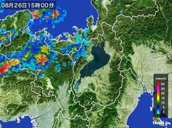 滋賀県の雨雲レーダー(2016年08月26日)