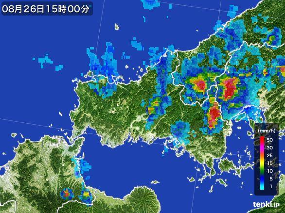 山口県の雨雲レーダー(2016年08月26日)