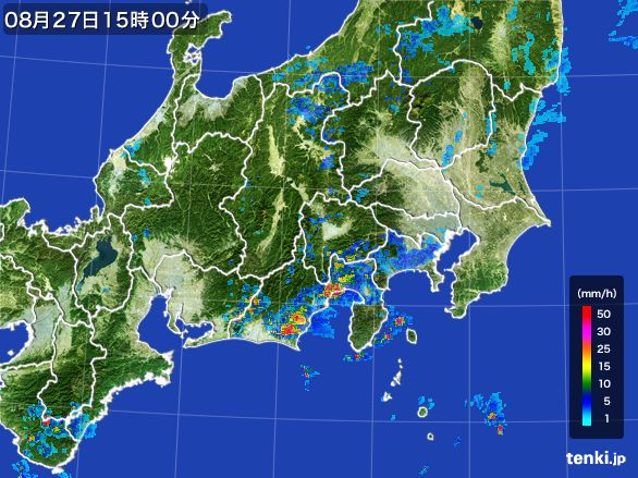 関東・甲信地方の雨雲レーダー(2016年08月27日)