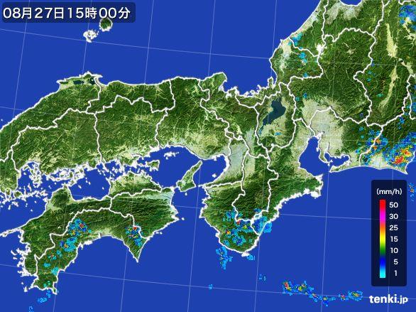 近畿地方の雨雲レーダー(2016年08月27日)