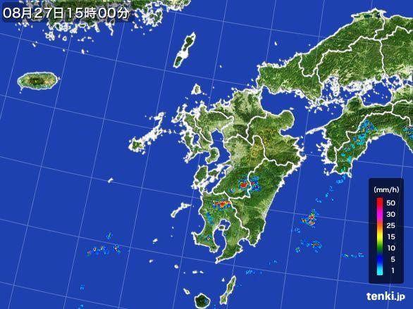 九州地方の雨雲レーダー(2016年08月27日)