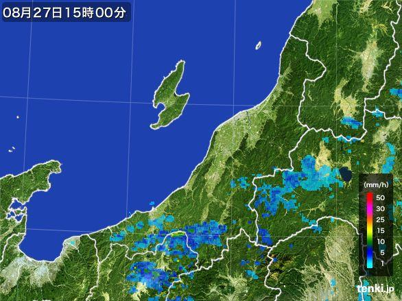 新潟県の雨雲レーダー(2016年08月27日)