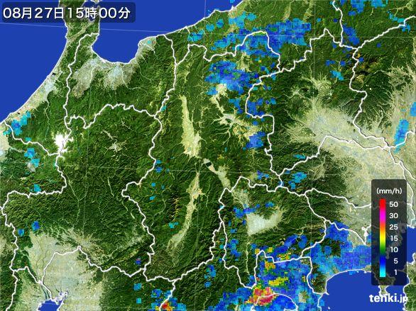 長野県の雨雲レーダー(2016年08月27日)