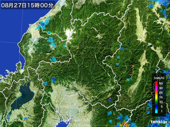 岐阜県の雨雲レーダー(2016年08月27日)
