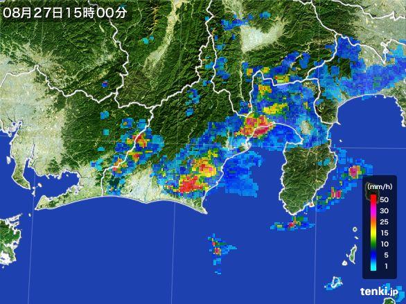 静岡県の雨雲レーダー(2016年08月27日)
