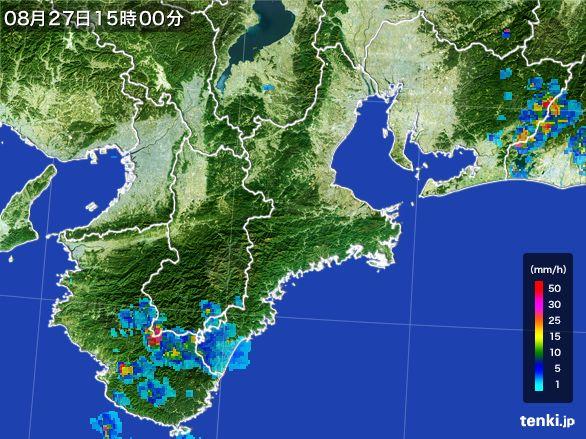 三重県の雨雲レーダー(2016年08月27日)