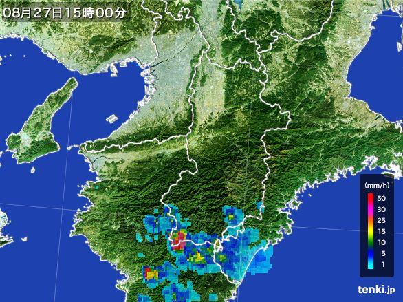 奈良県の雨雲レーダー(2016年08月27日)