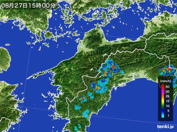 愛媛県の雨雲レーダー(2016年08月27日)