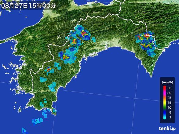 高知県の雨雲レーダー(2016年08月27日)