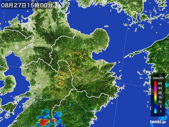 大分県の雨雲レーダー(2016年08月27日)