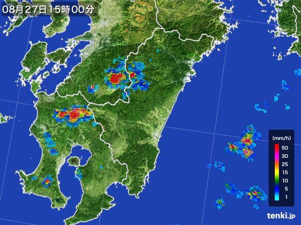 宮崎県の雨雲レーダー(2016年08月27日)