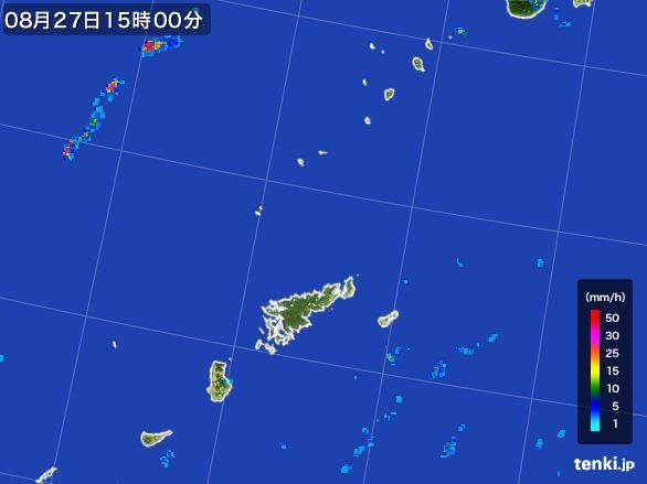 奄美諸島(鹿児島県)の雨雲レーダー(2016年08月27日)