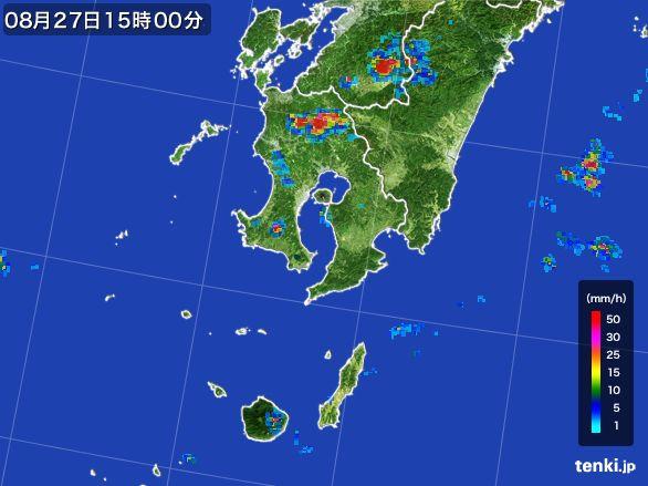 鹿児島県の雨雲レーダー(2016年08月27日)