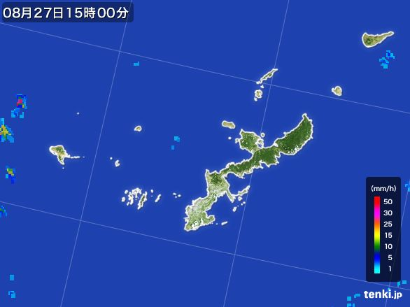 沖縄県の雨雲レーダー(2016年08月27日)