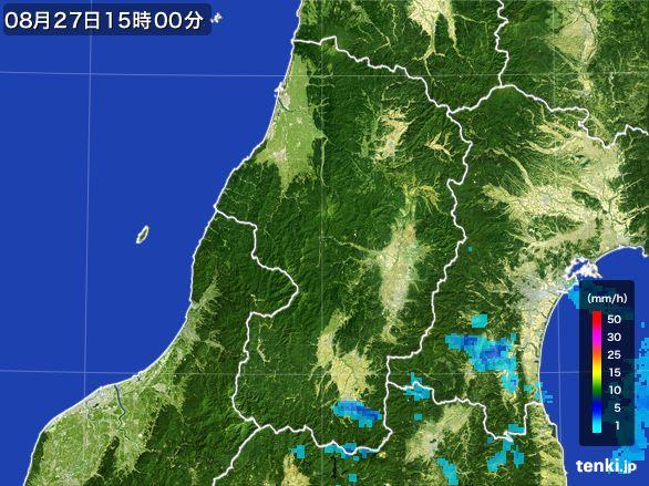 山形県の雨雲レーダー(2016年08月27日)