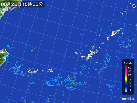 沖縄地方の雨雲レーダー(2016年08月28日)