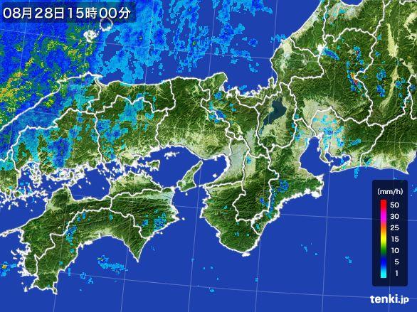 近畿地方の雨雲レーダー(2016年08月28日)