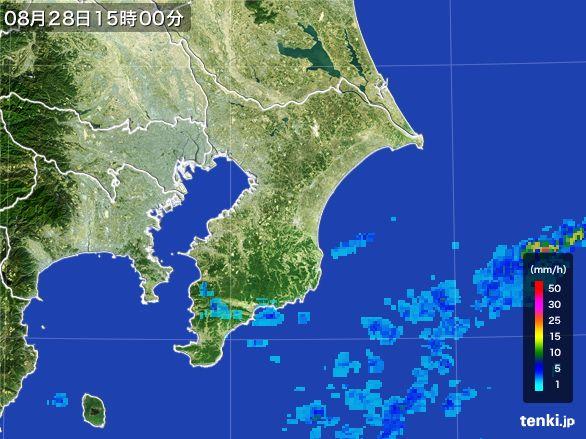 千葉県の雨雲レーダー(2016年08月28日)