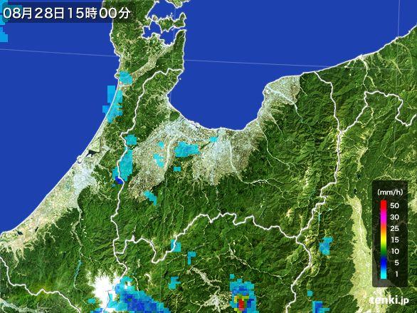 富山県の雨雲レーダー(2016年08月28日)