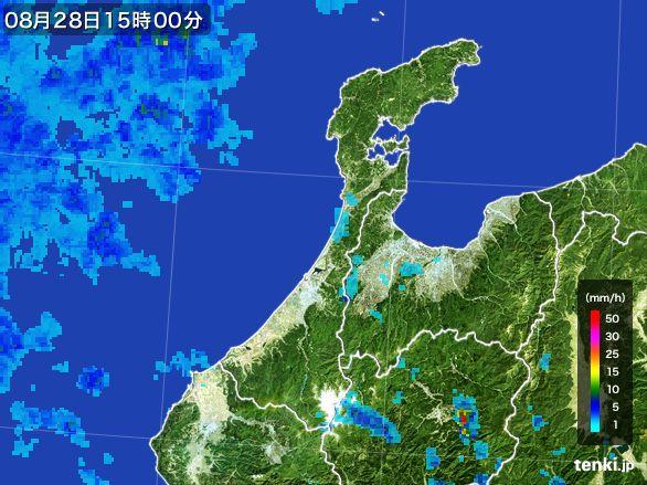 石川県の雨雲レーダー(2016年08月28日)
