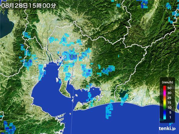 愛知県の雨雲レーダー(2016年08月28日)