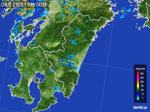 宮崎県の雨雲の動き(2016年08月28日)