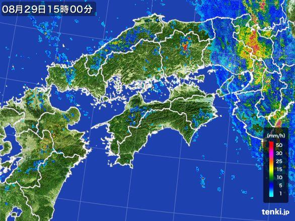 四国地方の雨雲レーダー(2016年08月29日)