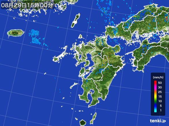 九州地方の雨雲レーダー(2016年08月29日)