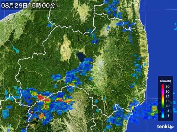 福島県の雨雲レーダー(2016年08月29日)