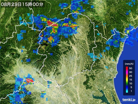 栃木県の雨雲レーダー(2016年08月29日)