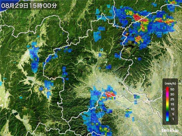 群馬県の雨雲レーダー(2016年08月29日)