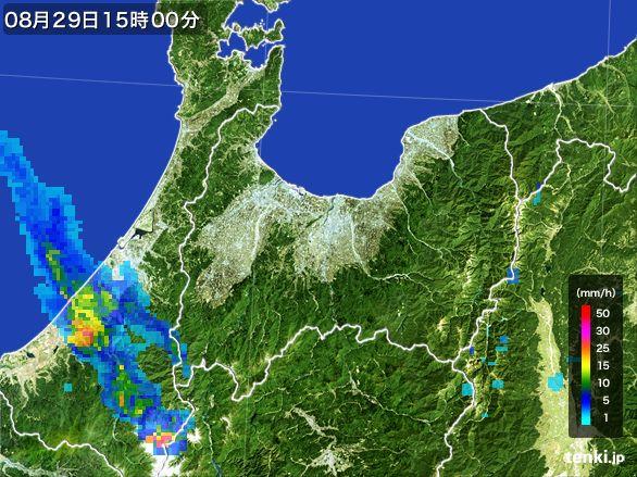 富山県の雨雲レーダー(2016年08月29日)
