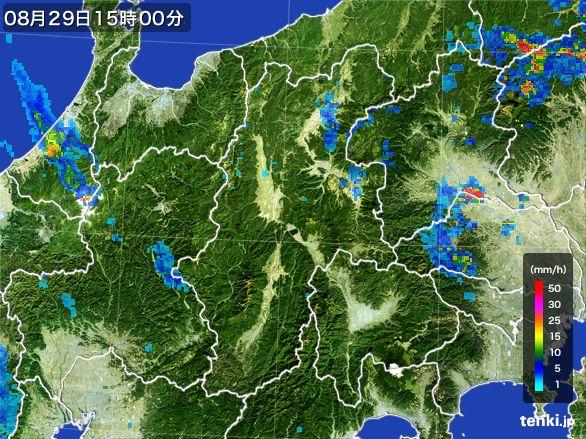 長野県の雨雲レーダー(2016年08月29日)