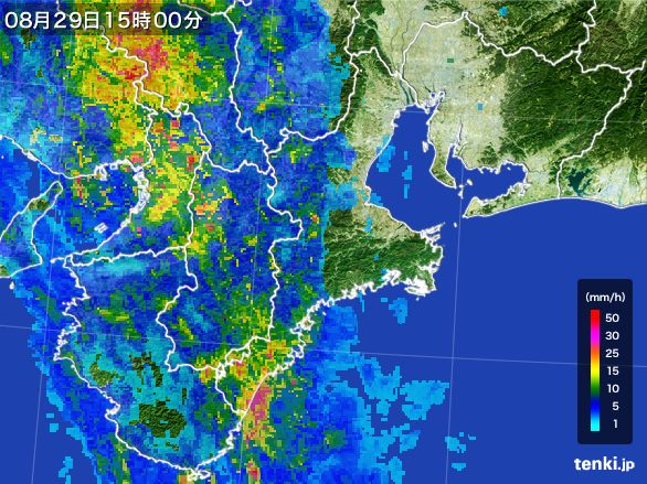三重県の雨雲レーダー(2016年08月29日)