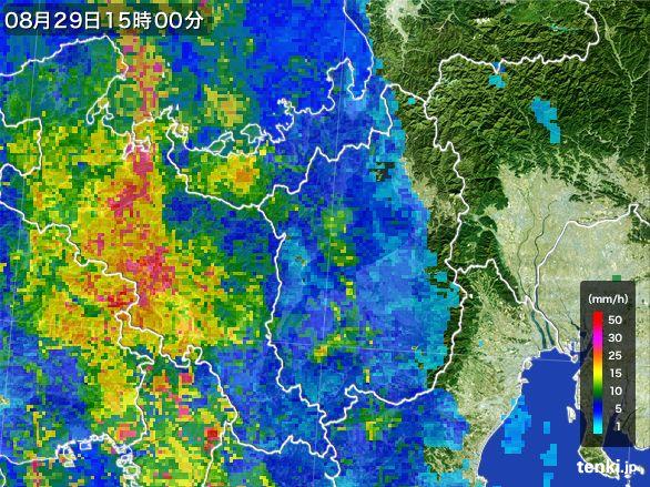 滋賀県の雨雲レーダー(2016年08月29日)