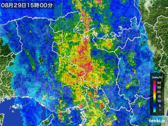 京都府の雨雲レーダー(2016年08月29日)