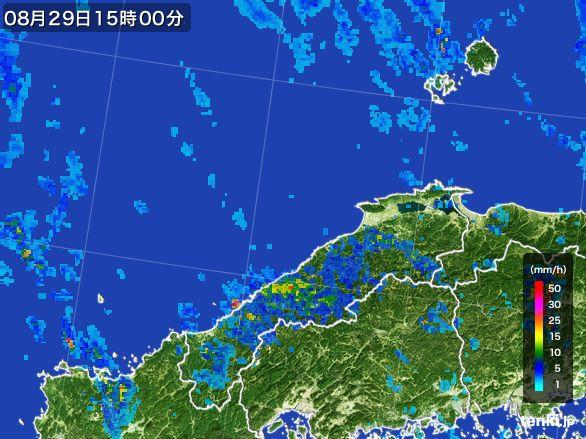 島根県の雨雲レーダー(2016年08月29日)