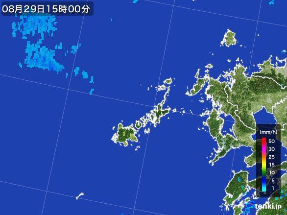 五島列島(長崎県)の雨雲レーダー(2016年08月29日)